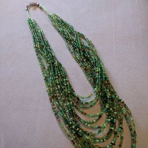 Jewelry - Green beaded multi-strand necklace